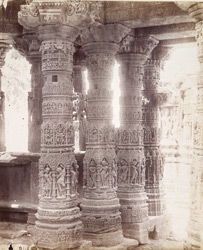 Close view of columns in the Gudha Mandapa, Surya Temple, Modhera 1904